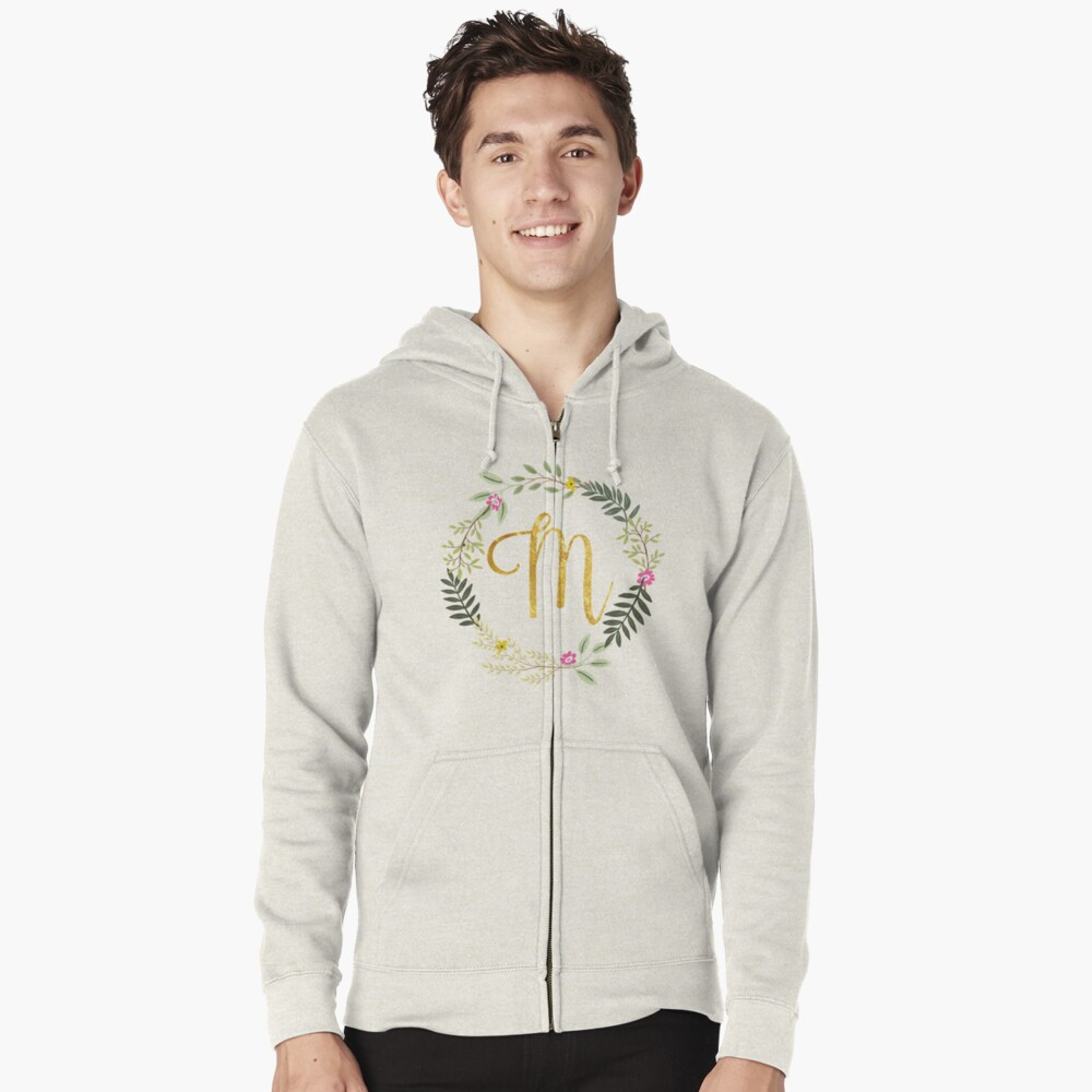 Floral and Gold Initial Monogram M Zipped Hoodie