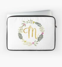 Floral and Gold Initial Monogram M Laptop Sleeve