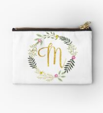 Floral and Gold Initial Monogram M Studio Pouch