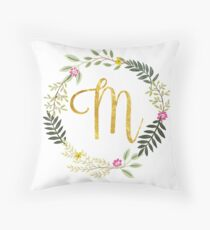 Floral and Gold Initial Monogram M Throw Pillow