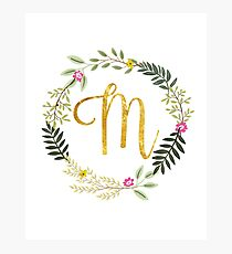 Floral and Gold Initial Monogram M Photographic Print