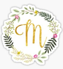 Floral and Gold Initial Monogram M Sticker