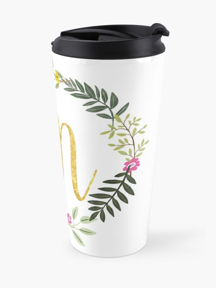 Alternate view of Floral and Gold Initial Monogram M Travel Mug