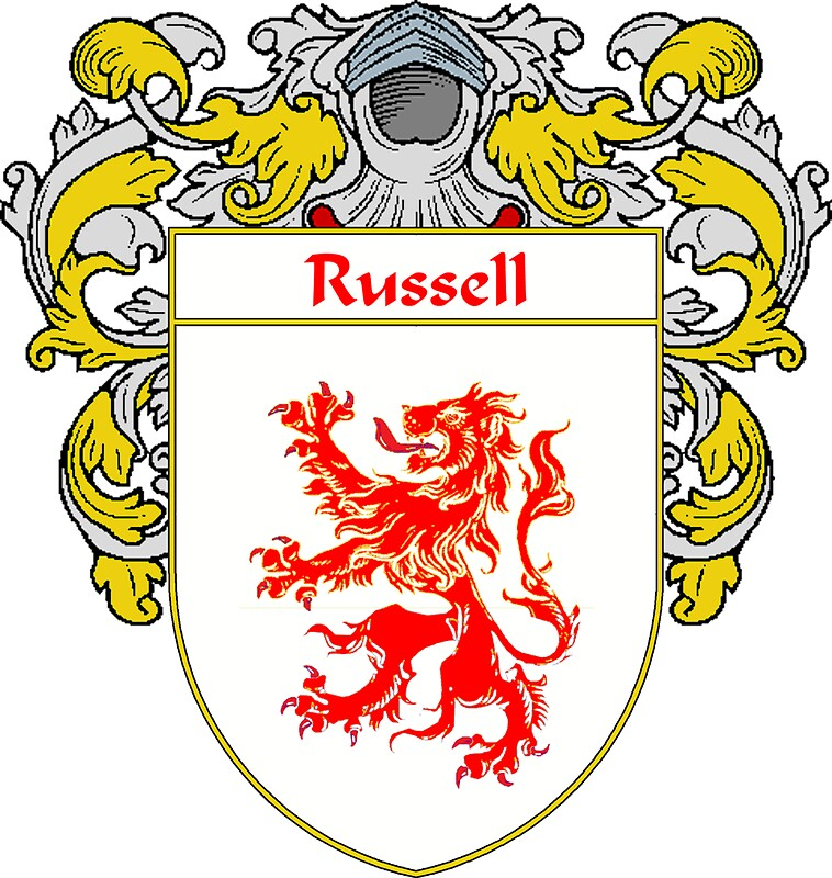 Quot Russell Coat Of Arms Russell Family Crest Quot Stickers By