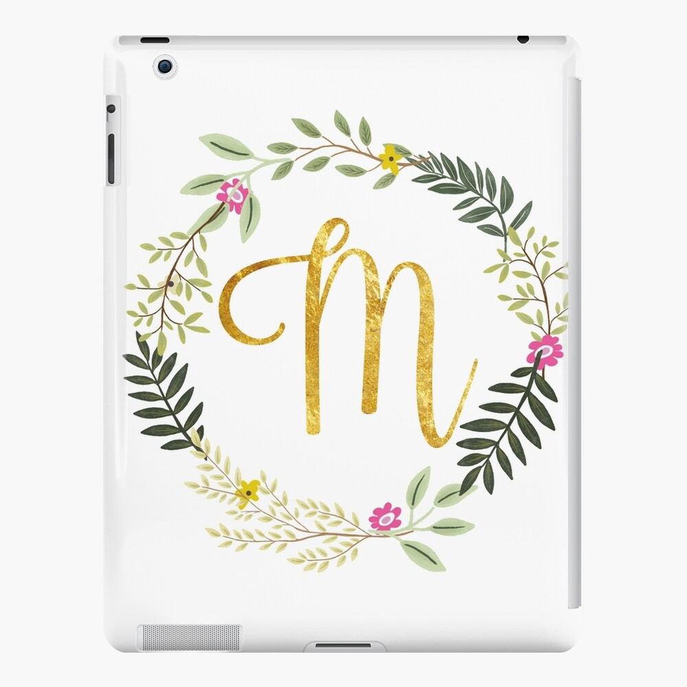 Floral and Gold Initial Monogram M iPad Case & Skin