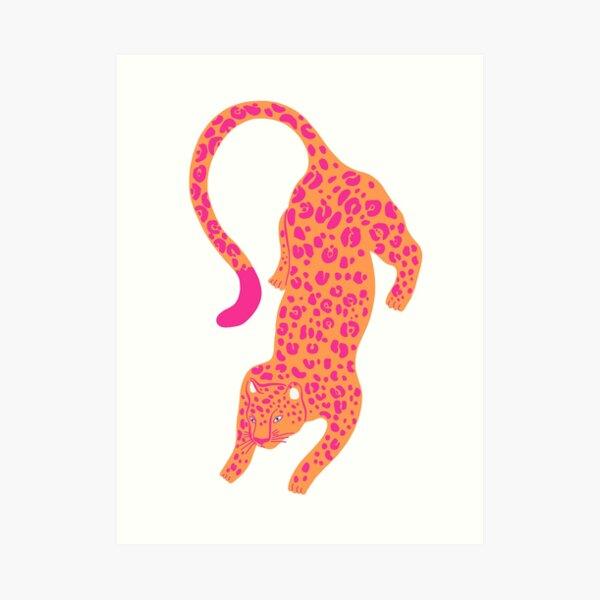 Pink & Orange Leopard Art Print