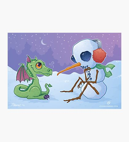 Snowman and Dragon Photographic Print