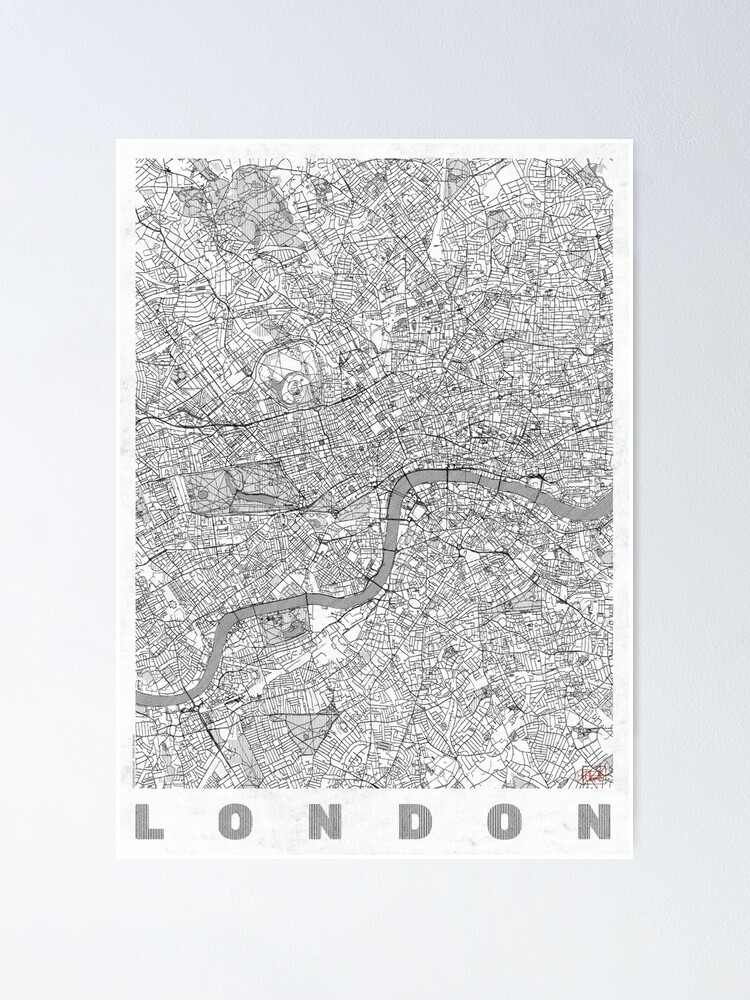 Alternate view of London Map Line Poster
