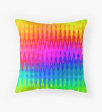 Rainbow Color Waves Pattern Throw Pillow