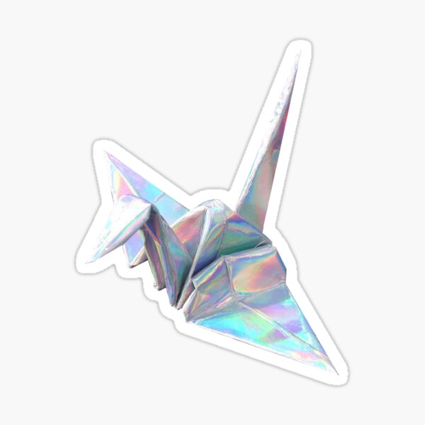 Holographic Shiny Paper Crane Design Sticker