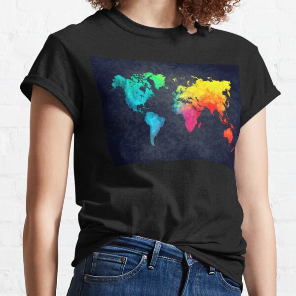 world map watercolor 6 #map #worldmap Classic T-Shirt