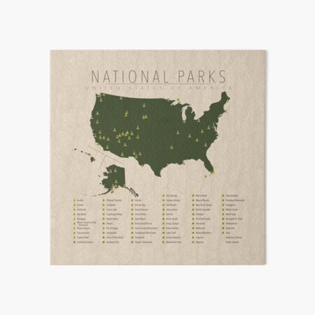 US National Parks Art Board Print