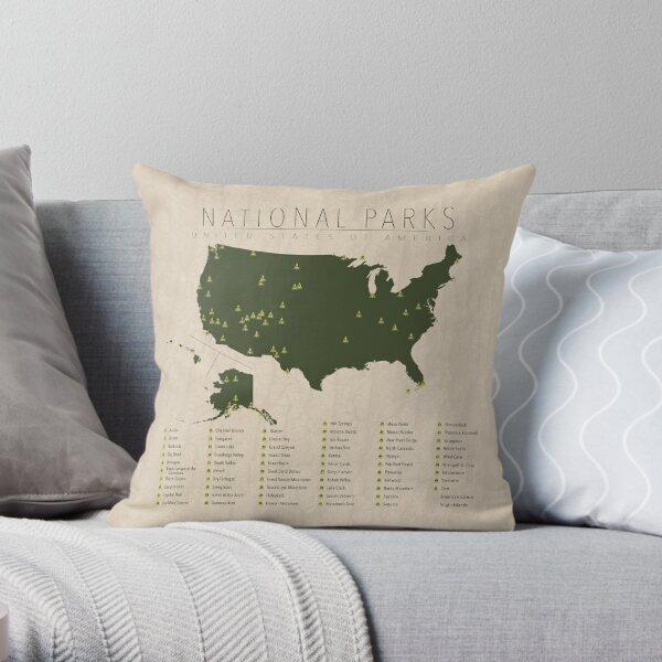 US National Parks Throw Pillow