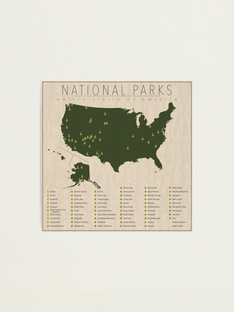 Alternate view of US National Parks Photographic Print