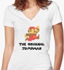Mario - The Original Jumpman Women's Fitted V-Neck T-Shirt