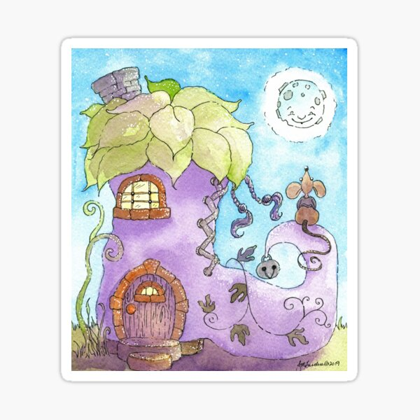 Mouse in His House, Nursery Art, Nursery Design Sticker