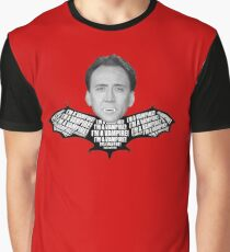 "Nicolas Cage ""I'm a Vampire""  Graphic T-Shirt"