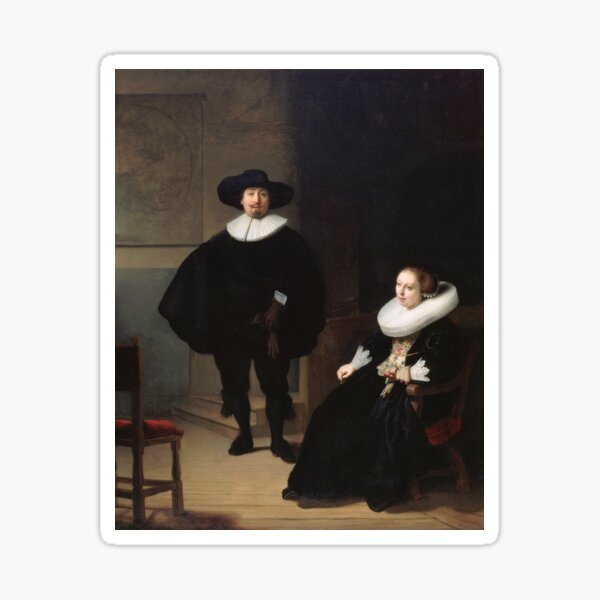 Rembrandt - A Lady and Gentleman in Black 1633 Sticker