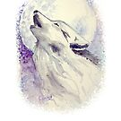 Watercolor Howling Wolf by Vanessa BettencourtArt