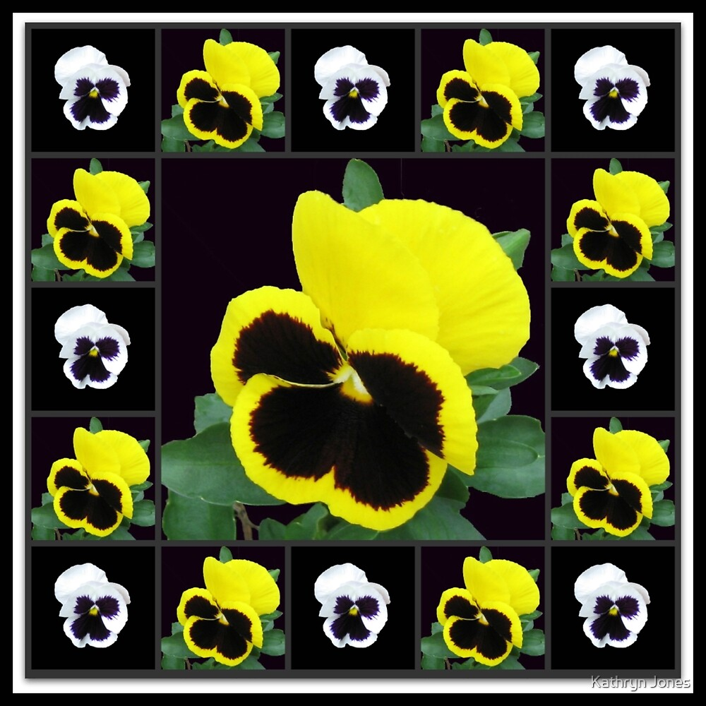 Cute Little Pansy Faces Collage by Kathryn Jones