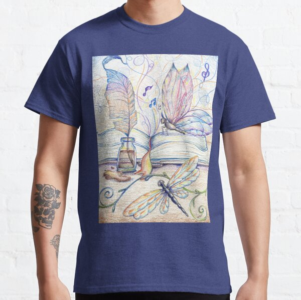 Vintage Tales, Butterfly Art, Dragonfly Drawing, Ink, Pen Classic T-Shirt