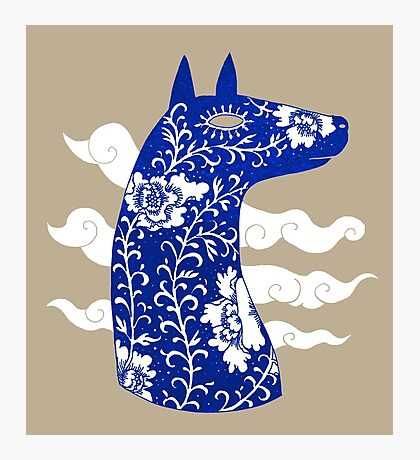 The Water Horse in Blue and White Photographic Print