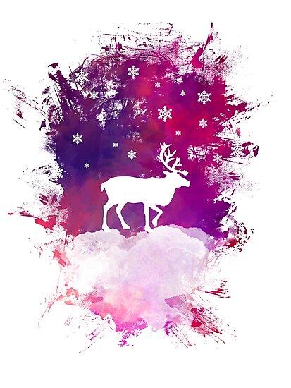 Caribou winter art by JBJart