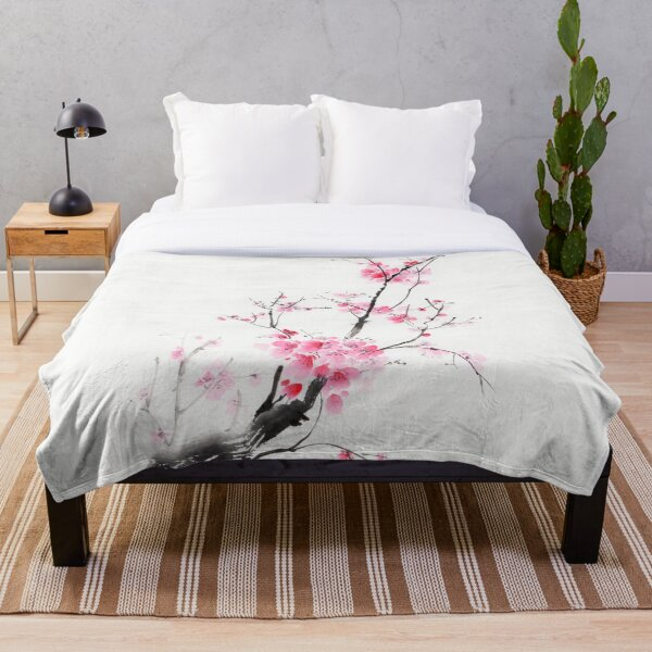 Delicate sakura branch with pink blossoms Japanese Zen sumi-e painting on white rice paper art print Throw Blanket
