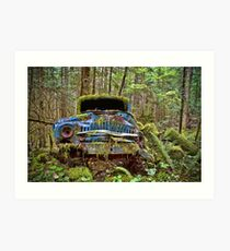Abandoned Car in the Forest Art Print