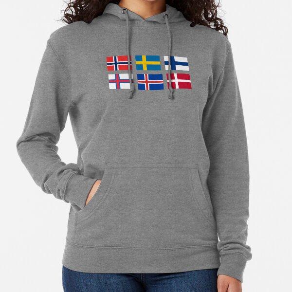 Drapeaux scandinaves Sweat à capuche léger