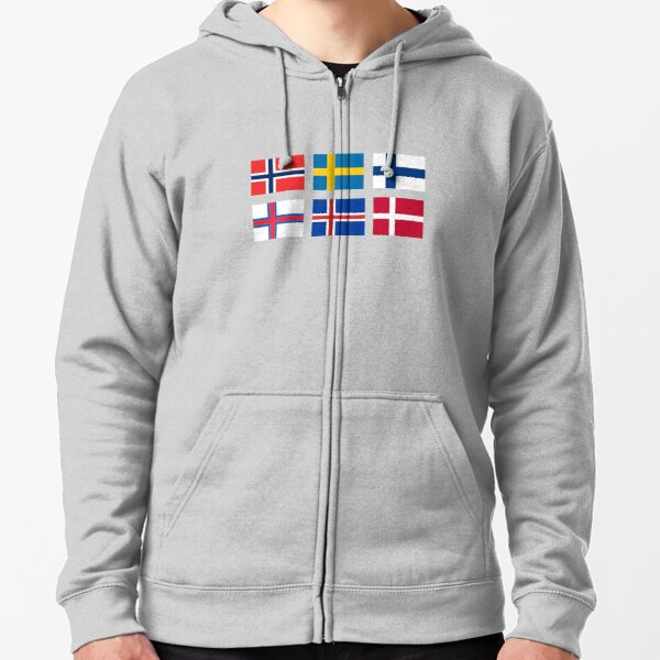 Scandinavian flags Zipped Hoodie