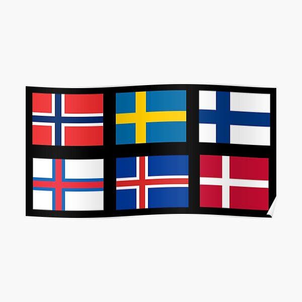 Scandinavian flags Poster