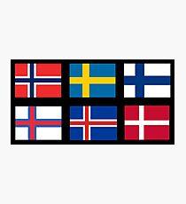Skandinavische Flaggen Fotodruck