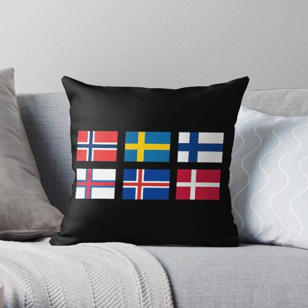 Scandinavian flags Throw Pillow