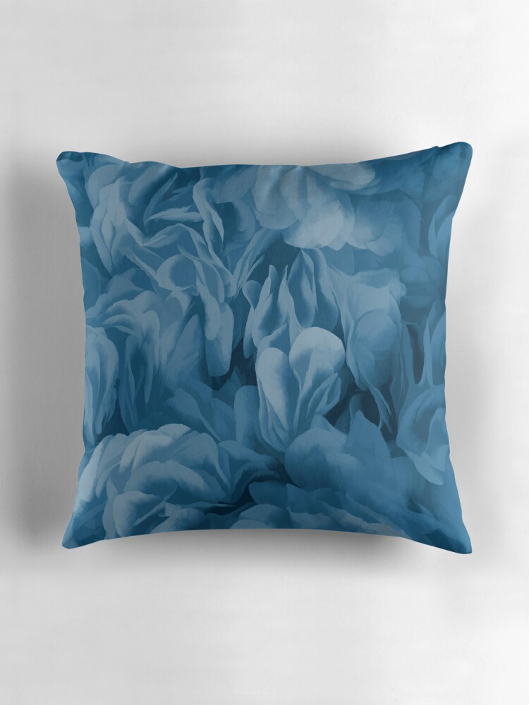 Blue Ruffle Throw Pillow :