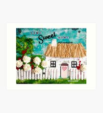 Mixed Media Thatched Cottage Art Print