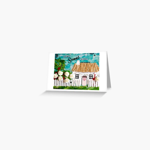 Mixed Media Thatched Cottage Greeting Card