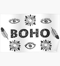 Boho eyes and sun. Tribal print Poster