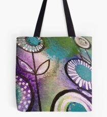 Flower design in blues Tote Bag