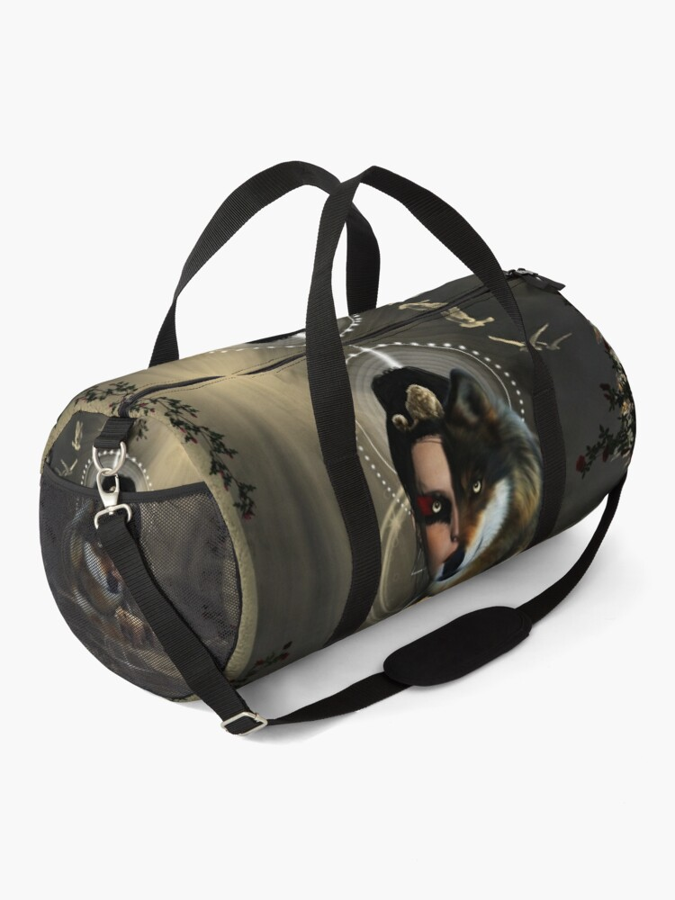 Alternate view of Awesome wolf with fairy and bear Duffle Bag