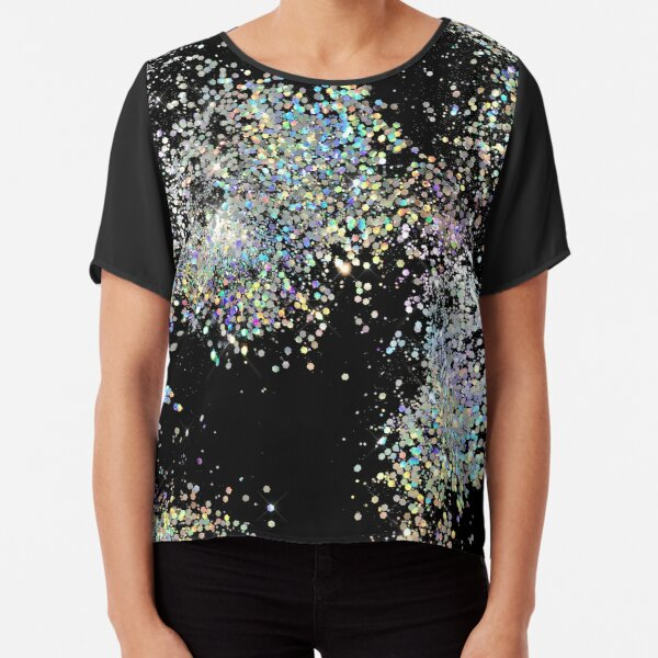 Black and Multicolor Sequins Chiffon Top