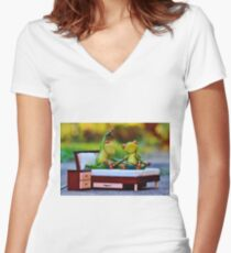 JUST MARRIED FROGS Women's Fitted V-Neck T-Shirt