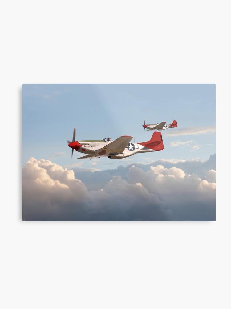 P51 Mustang Red Tails Metal Print