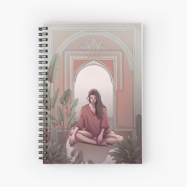 Dreamy Spiritual Meditation, Yoga Girl in Red Surrounded by Plants - Digital Illustration by MadliArt Spiral Notebook