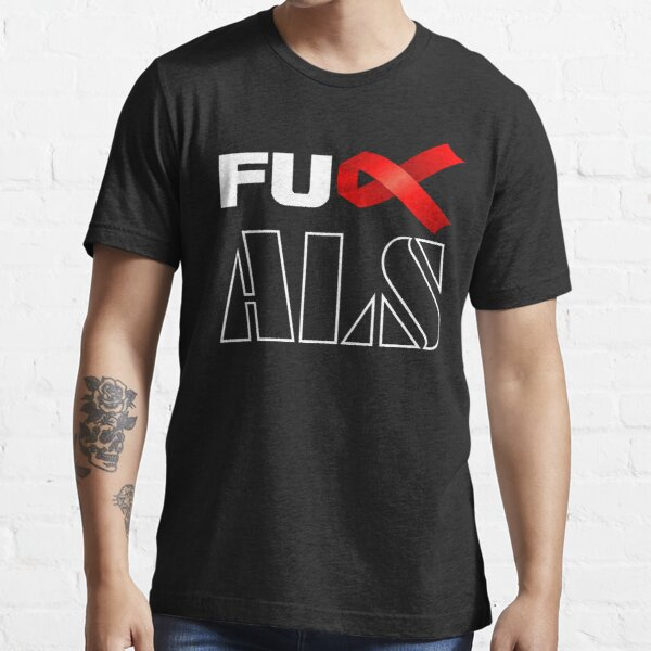 Women/'s F*ck ALS T-Shirt Red ALS Amyotrophic Lateral Sclerosis Ribbon MS Shirt