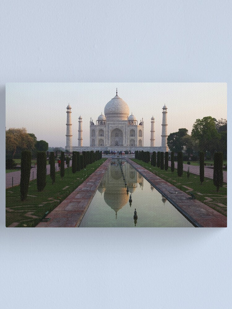 Alternate view of The Taj Mahal and reflective pool at dawn. Canvas Print