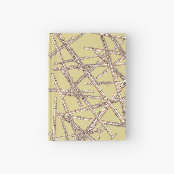 Flute Musical Instrument Pattern Yellow Hardcover Journal