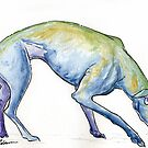 Watercolor and Ink Greyhound by dvampyrelestat