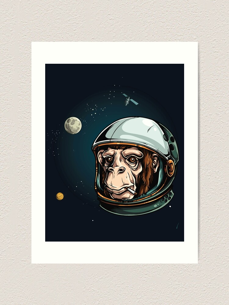 Monkey Astronaut Illustration Large Framed Art Print Wall Poster