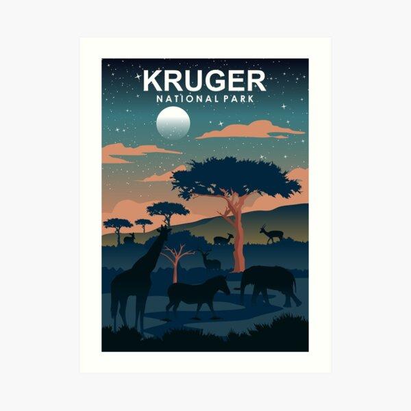 Kruger National Park Night Travel Poster South Africa Art Print